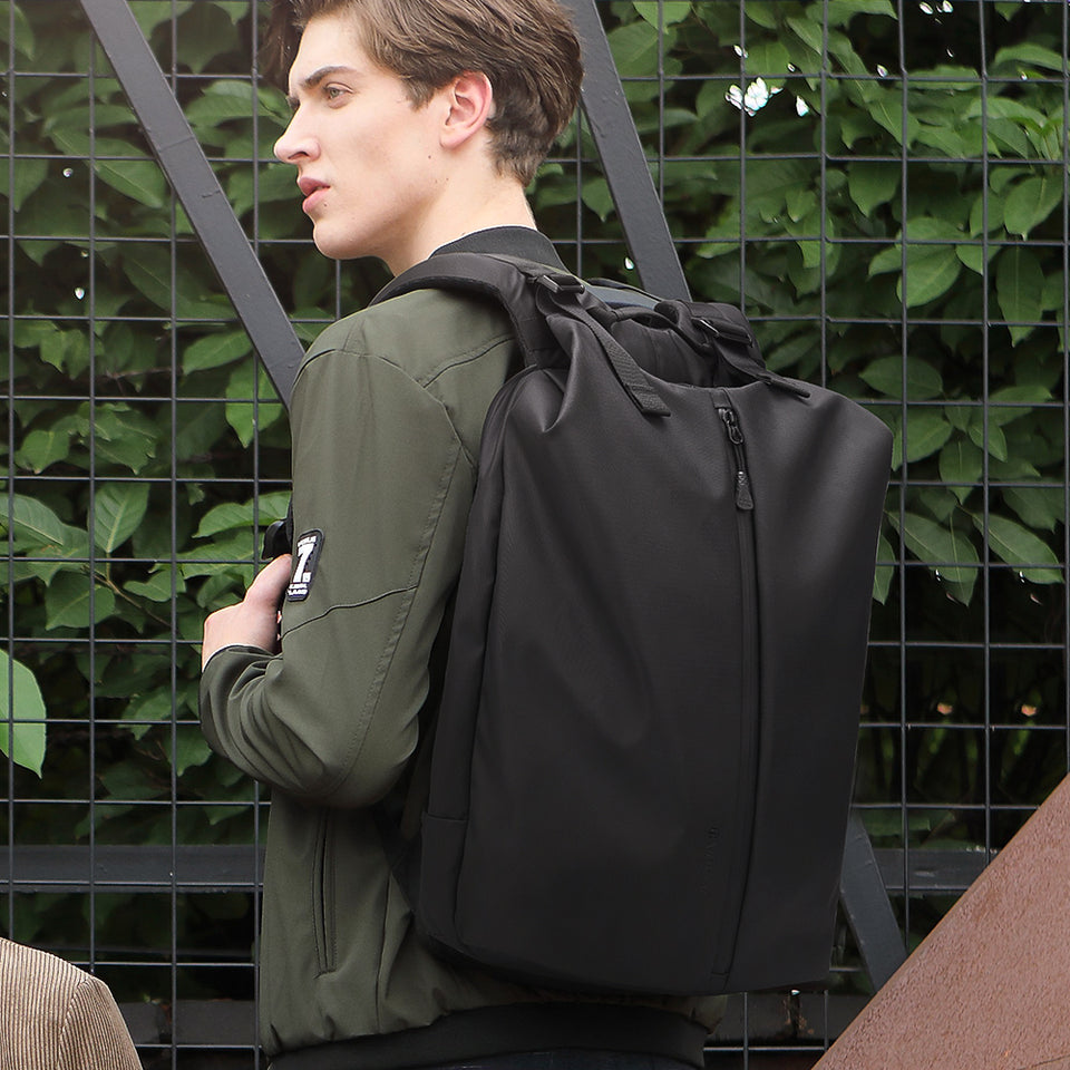 Casual daypack for computer with back tie strip