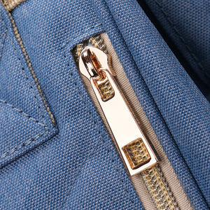 Handbag with metallic customer zippers