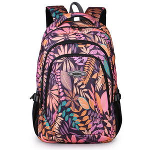 Aoking Brand Daily Women Backpack For School Teenager Girls Flowers Printed Nylon Travel Backpacks Casual Floral Backpack