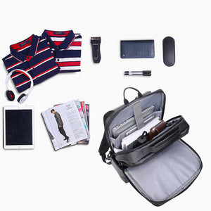 Aoking Water Resistant Dual USB Charging Business Backpack Travel Men 15.6'' Laptop Bag