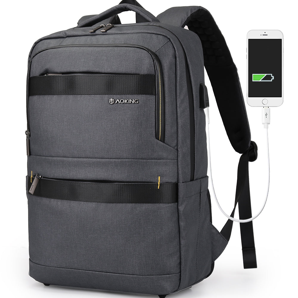Waterproof Travel Men Laptop Backpack Anti Theft Shoulder Bag with USB Port Soft