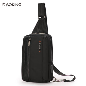 Aoking Lightweight Dual USB Charging Anti-theft Male Crossbody Chest Bag
