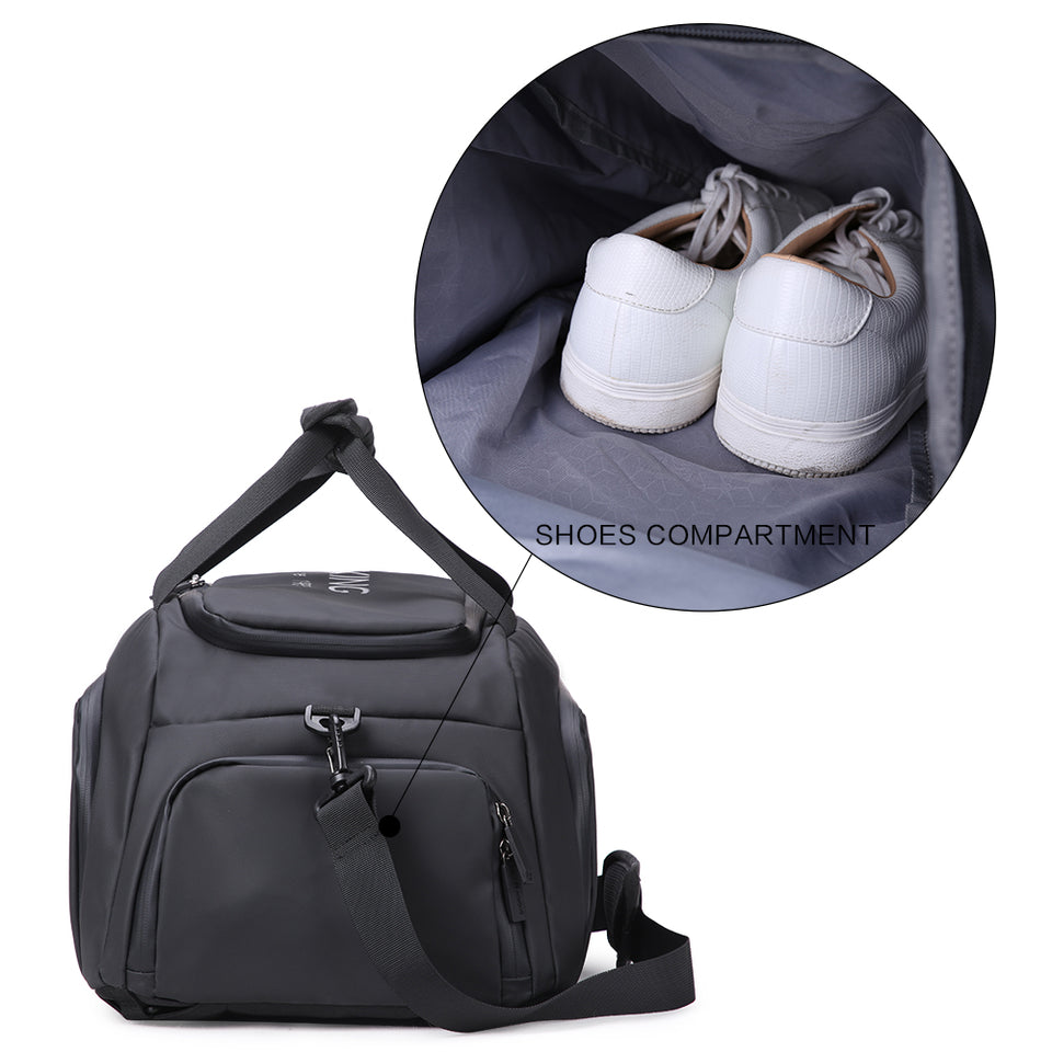 Duffel bag with shoes compartment