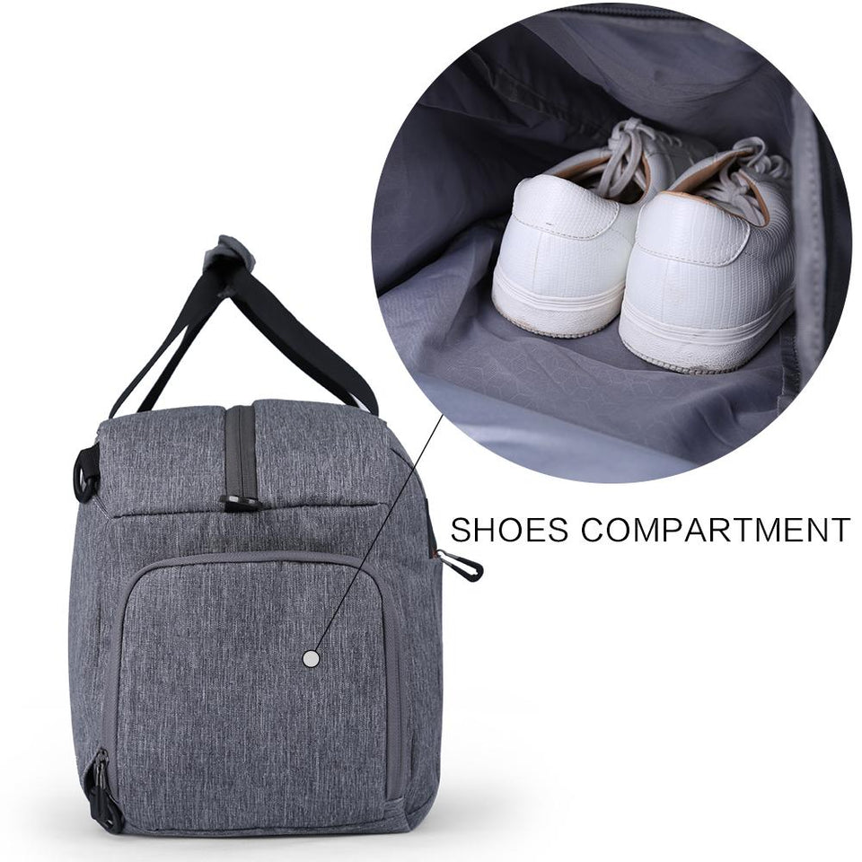 Exercise bag with independent shoes compartment