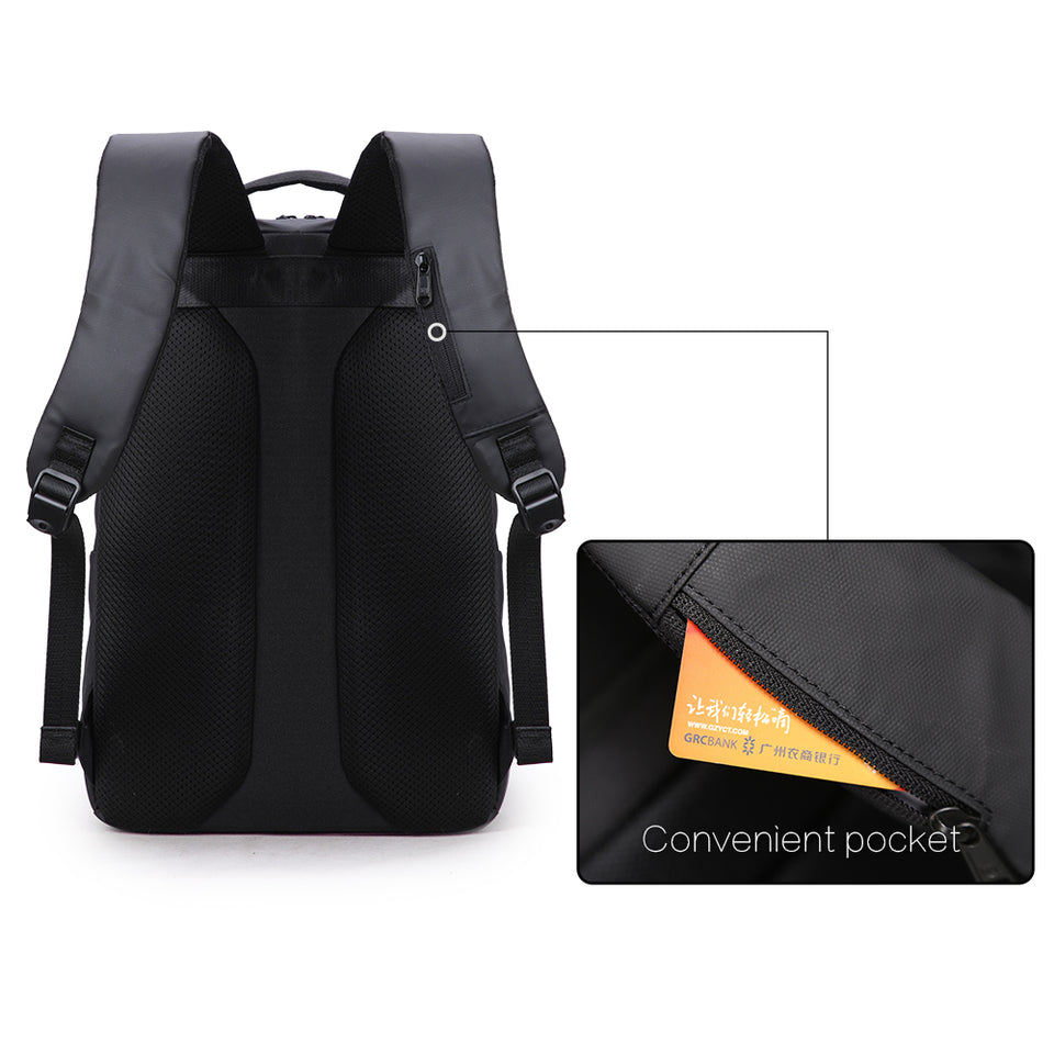 Spacious backpack with convenient pocket for storing card