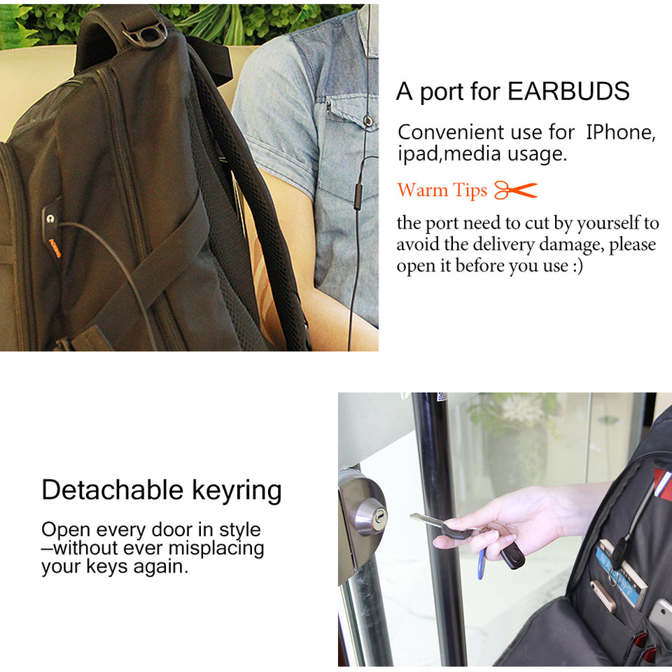 Backpack with key ring