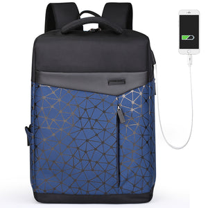 men navy cool backpack with usb charging port