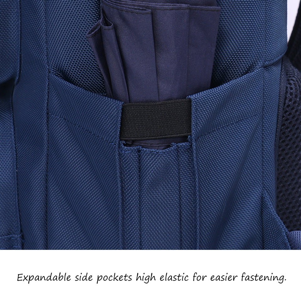Business bag with elastic side pocket for umbrella