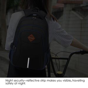 Travel bag with night reflective strip