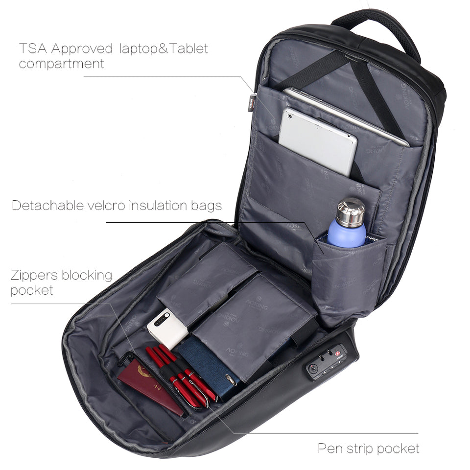 Business backpack with detachable velcro insulation pocket