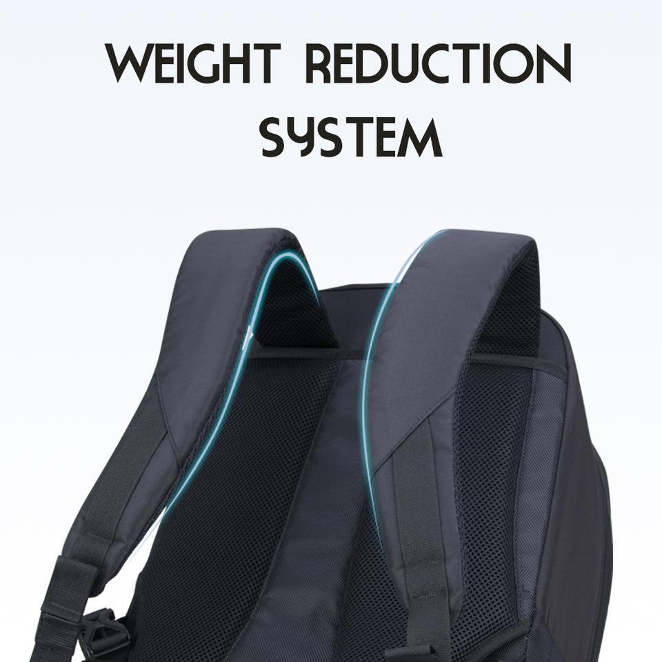 Ergonomic carry-on bag with weight reduction system