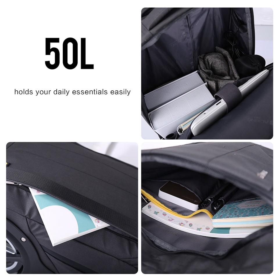 Waterproof Trolley Bag 50L Wheeled USB Charging 17'' Laptop Bag Travel Rolling Luggage Suitcase Men