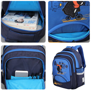 Aoking Causal Cute Animal Printing School Backpack for Kids with Reflective Strip Waterproof Nylon New Fashion Design