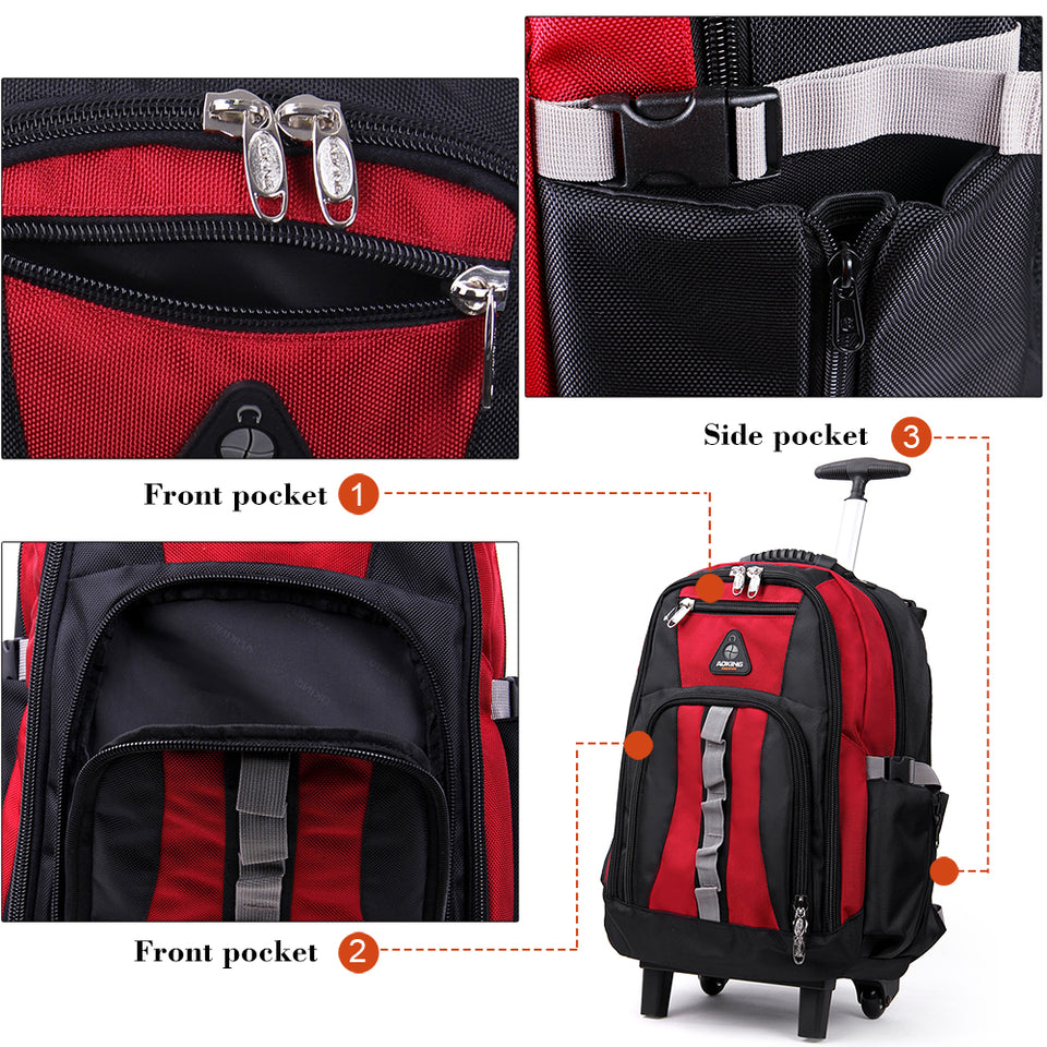 Large wheel travel backpack