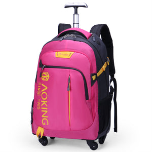 Durable rolling backpack with rust resistance metallic handle
