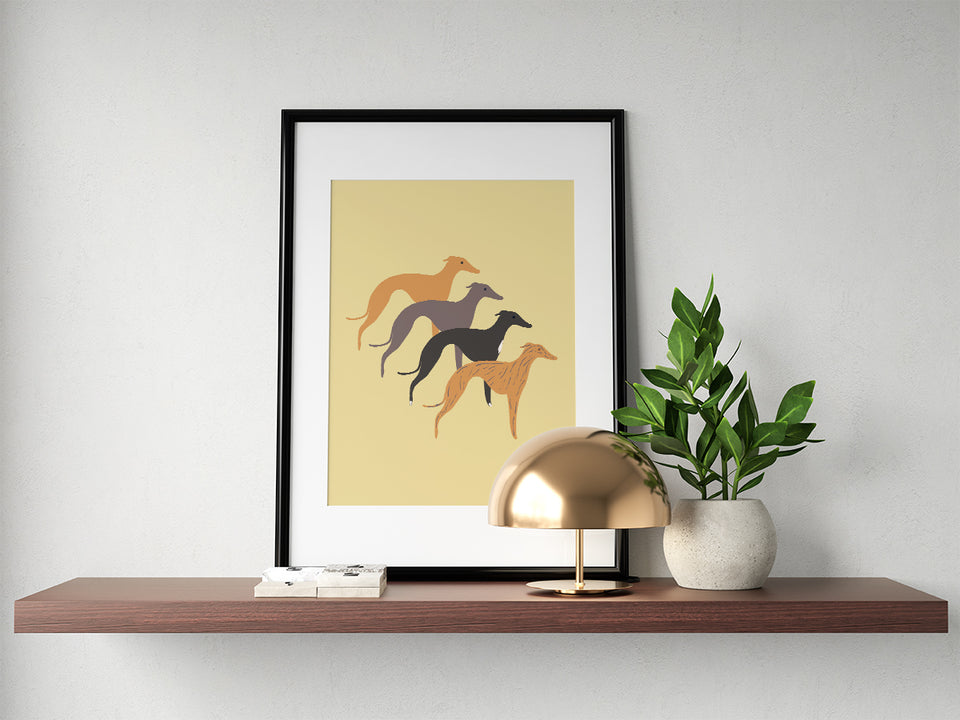 Four Little Greyhounds - Printable Art