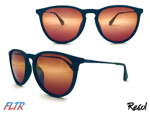 Resol Filtered Sunglasses with Round Frames and Amber Tint at FLTRglasses.com