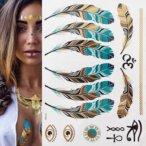Boho style eyes/face/body Feather tattoo - EleganziaToYou
