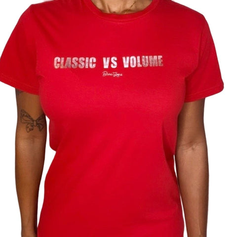 Classic vs Volume T-shirt  Dash of Lash. Which is truly better, classic or volume? Spark conversation in this red graphic tee featuring rose-gold embellishment. This tee is crafted from 100% stretch cotton and custom made to order materials. Try styling this bright tee with navy skinnies and nude heels for a completed look.