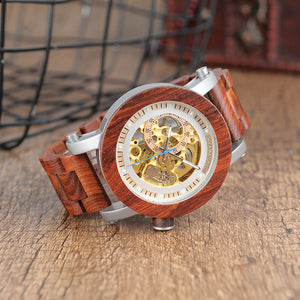 Luxury Fashion Automatic Self Wind Red Wood Stainless Steel Mens Watch