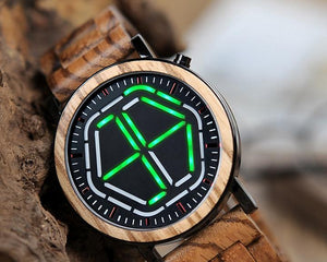 Real Natural Wood Led Electronic Display Mens Watch Green Face