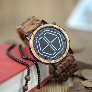 Real Natural Wood Led Electronic Display Mens Watch White Face