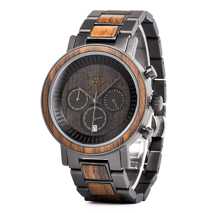 Luxury Steel and Dark Ebony Wood with Multifunction Chronograph Mens Watch