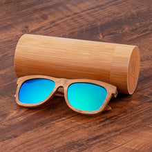 Wood sunglasses uv400 polarized sun blocking glasses with blue/green lenses