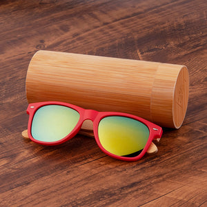 Wood sunglasses uv400 polarized sun blocking glasses red pink with black lenses