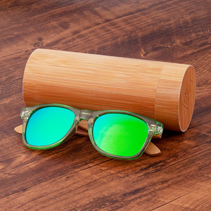 Clear plastic with natural wood sunglasses uv400 polarized sun blocking glasses with green lenses