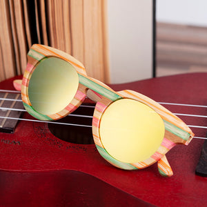 Rainbow Wood Retro sunglasses uv400 polarized sun blocking glasses with black lenses
