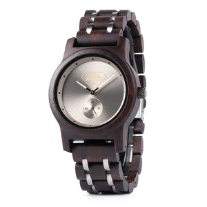 Metal and Dark Ebony Wood Minimalist Design Mens Wood Watch