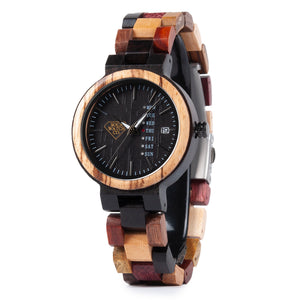 Multi Color Red and Ebony Wood Date and Week Display Womens Watch