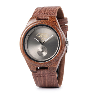 Leather Strap Zebra Wood Watch extremely lightweight with chronograph Mens