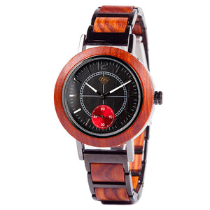 Wood and Steel Fashion Chronograph Red Accent Womens Watch