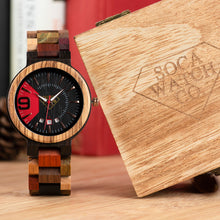 Multi Colors Ebony and Red Wood With Stylish Dial Design and Date Display Mens Wood Watch