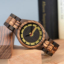 Zebra and Ebony Wood Fashionable Mens Wood Watch