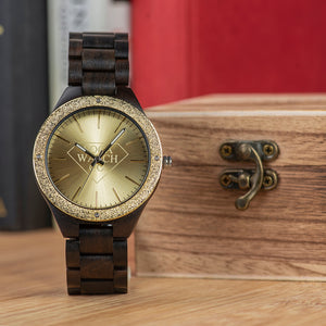 Wood Luxury Metal Face and Ebony Wood Mens Watch