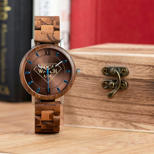 Stainless Steel and Zebra Wood Mens Watch