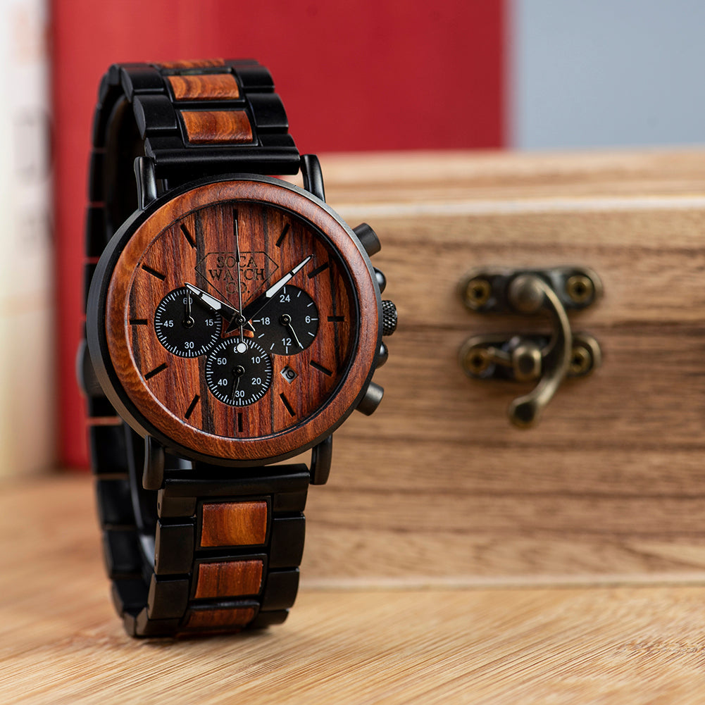 Luxury Steel and Wood with Multifunction Chronograph Mens Watch