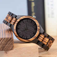 Zebra and Ebony Wood Mens Watch