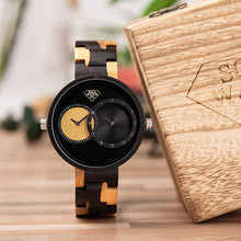 Wood Luxury Minimalist Two Tone Real Ebony Wood with Dual Time Zone Display Mens Watch