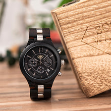 Wood Luxury Metal and Real Ebony Wood with Calender Chronograph Display Mens Watch