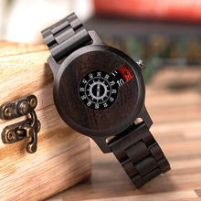 Wood Minimalist Full Wood Ebony Face and Calender Display Mens Watch