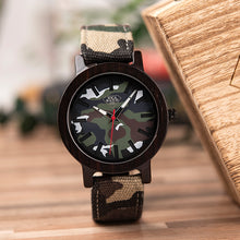 Soft Cloth Strap Camo Wood Watch extremely lightweight With Camo Band Mens