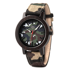 Soft Cloth Strap Camo Wood Watch extremely lightweight With Camo Band Womens