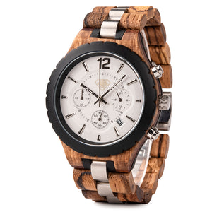 Wood Luxury Metal and Real Wood with Calender Chronograph Display Mens Watch