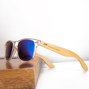 Clear plastic with natural wood sunglasses uv400 polarized sun blocking glasses with blue lenses