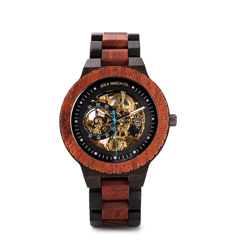 Luxury automatic Steel and Wood with Multifunction multi color wood Chronograph Mens Watch