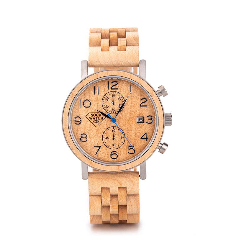 Real Wood and Stainless Steel Fashionable Mens Wood Watch
